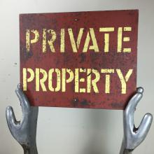 "Panneau ""Private Property"" vintage"